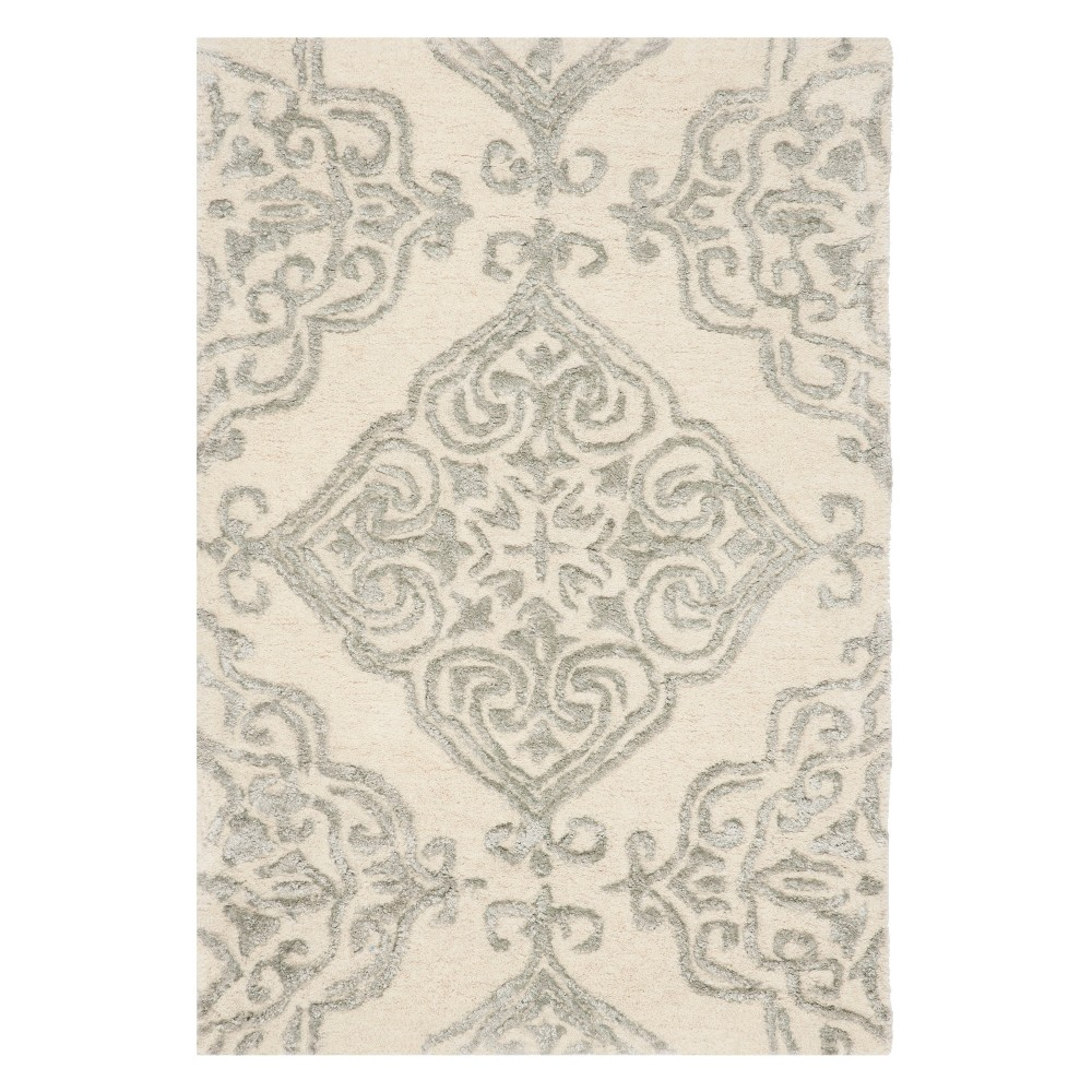 2'X3' Medallion Tufted Accent Rug Ivory/Silver - Safavieh