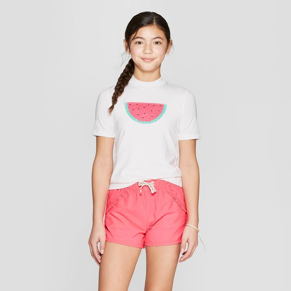 Girls' Watermelon Flip Sequins Short Sleeve Rashguard - Cat & Jack White XS