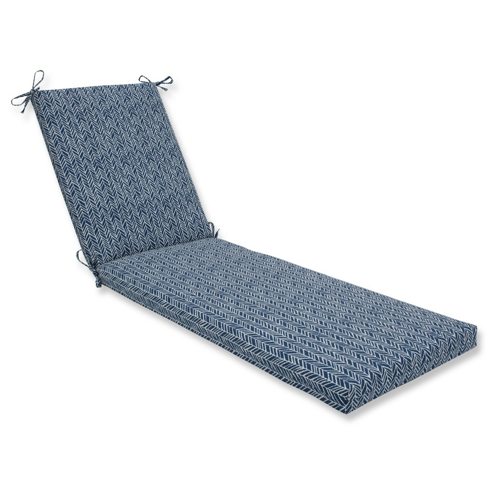 Outdoor/Indoor Herringbone Ink Blue Chaise Lounge Cushion - Pillow Perfect