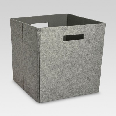 Fabric Cube Storage Bin 13  - Light Gray Felt - Threshold™