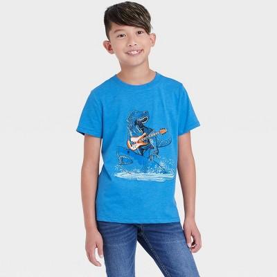 Boys' 'Rockstar Dino and Shark Duo' Graphic Short Sleeve T-Shirt - Cat & Jack™ Blue