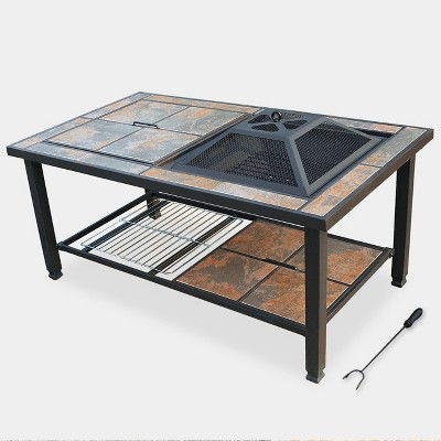 4-in-1 Ceramic Tile Fire Table - Bronze - leisurelife