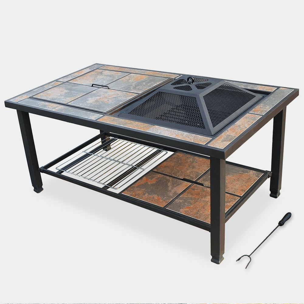 Image of 4-in-1 Ceramic Tile Fire Table - Bronze - leisurelife
