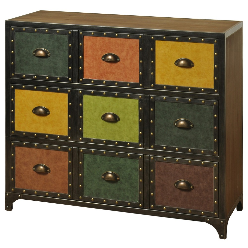 3 Drawer Chest with Textured Faux Leather Drawer Face Panels - Stylecraft, Multi-Colored