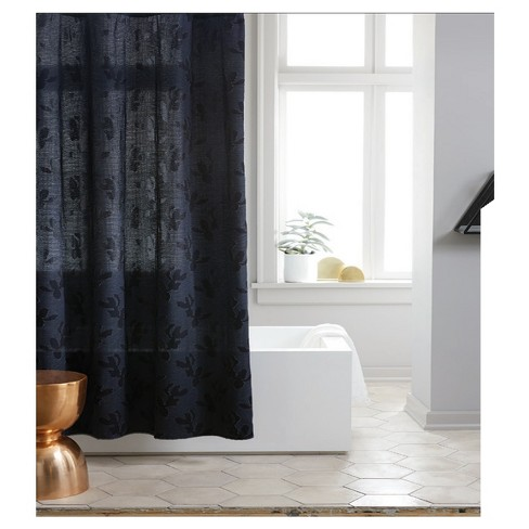 Leaf Woven Shower Curtain Navy