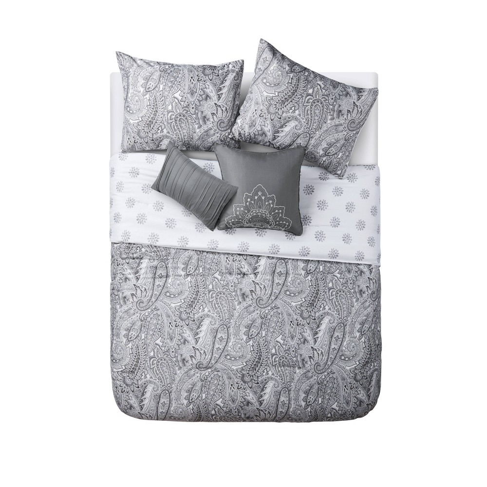 Queen Lila Comforter Set White/Gray - Vcny Home, Yellow