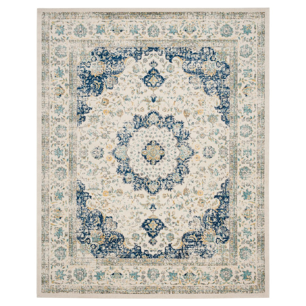 Abstract Knotted Area Rug Ivory/Blue