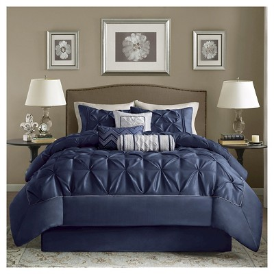Piedmont 7 Piece Comforter Set- Navy (Queen)