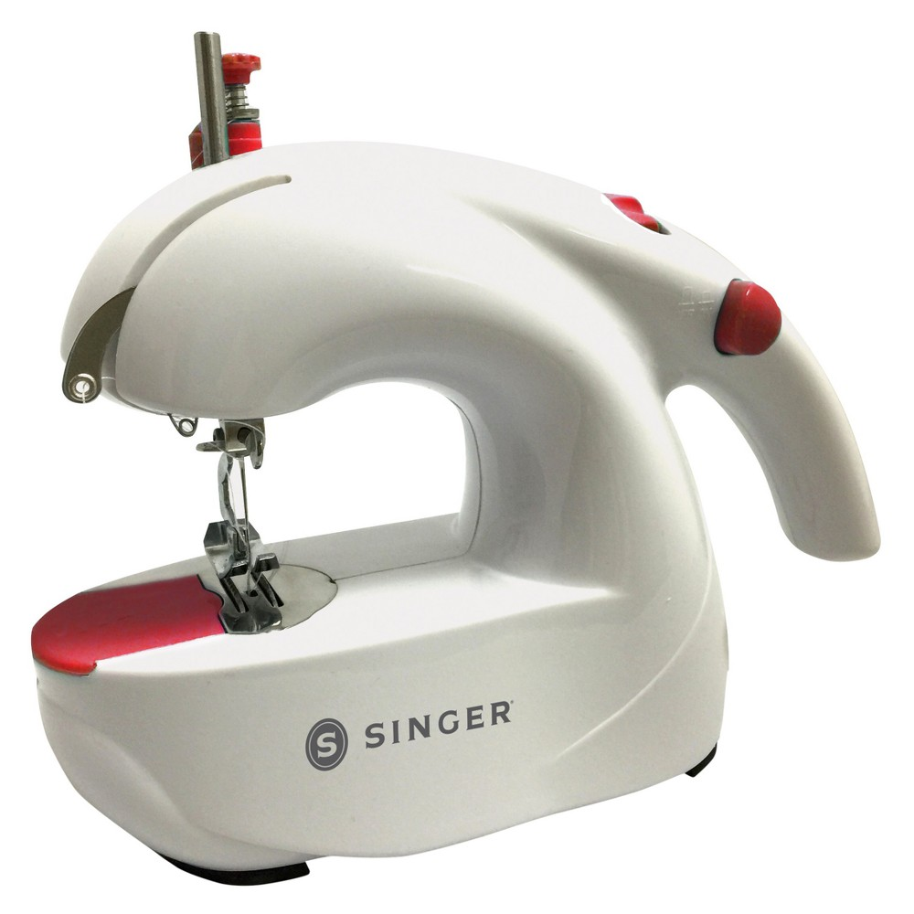 Singer Handheld Sewing Machine - White The Singer Handheld Sewing Machine is perfect for any sewing task from fixing dropped hems to getting a little crafty. This no-fuss portable sewing machine lets you perform a straight stitch with the press of a button, and the cordless design lets you move around while you work. The machine comes with a spool pin, needles and bobbins –– just add thread to get started! Color: White.