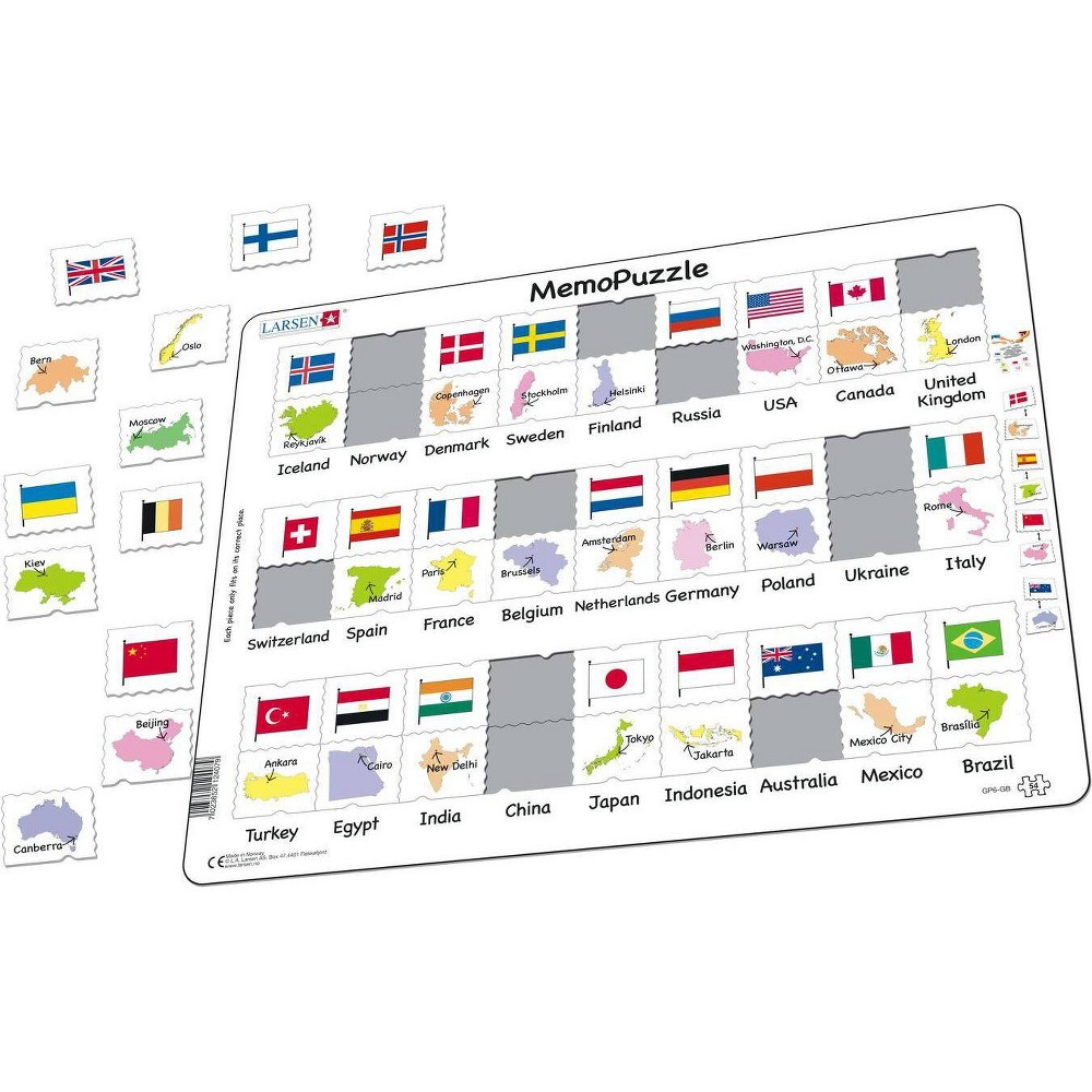 Larsen Puzzles Country Flags And Capitals Kids Jigsaw Puzzle 54pc