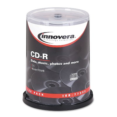 Innovera CD-R Discs 700MB/80min 52x Spindle Silver 100/Pack 77990