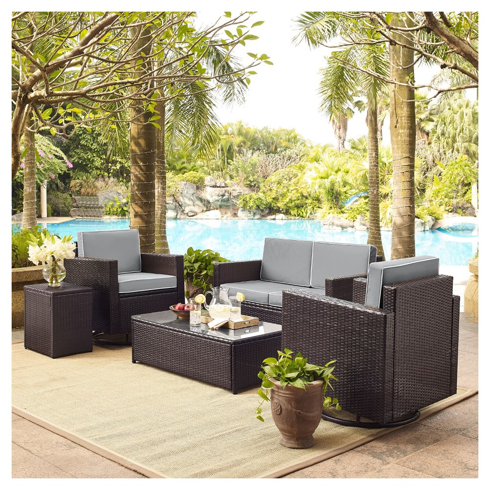 Palm Harbor 5pc All-Weather Wicker Patio Conversation Set - Gray - Crosley