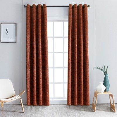 Nature Leaves Thermal Insulated Blackout Curtain Panel Set with Grommet Topper - Blue Nile Mills