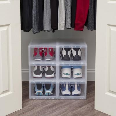 IRIS Wide Pull Down Front Shoe Storage Box   4pk