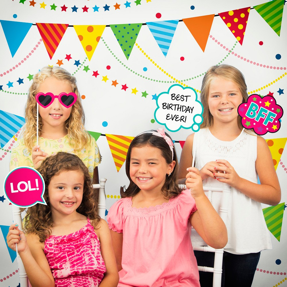 Girls Birthday Party Photo Booth Kit, Multi-Colored