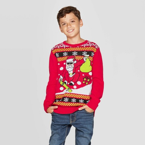 Well Worn Boys' Skater Santa Ugly Christmas Sweater - Red - image 1 of 3