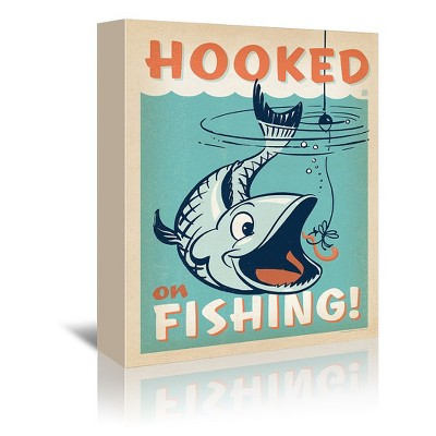 Americanflat Lake Hooked On Fishing by Anderson Design Group Wrapped Canvas