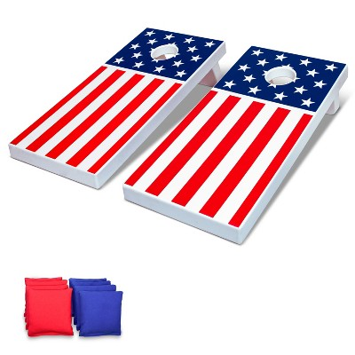GoSports Regulation Size Solid Wood Cornhole Set with 2 4 Foot x 2 Foot Boards, 8 Bean Bags, Carrying Case, and Game Rules, American Flag