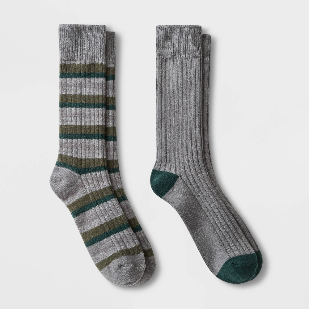 Image of Men's Striped Boot Socks 2pk - Goodfellow & Co Gray 7-12, Men's, Size: Small