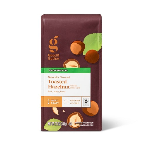 Naturally Flavored Hazelnut Decaf Bagged Light Roast Ground Coffee - 12oz - Good & Gather™ - image 1 of 3