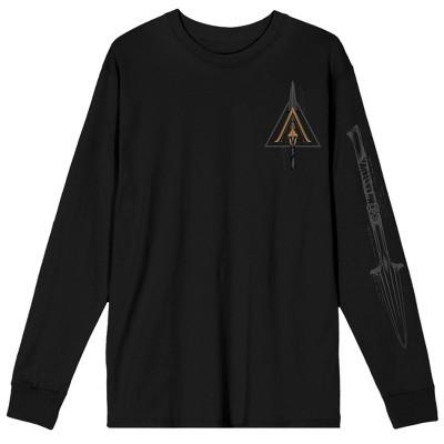 Assassin's Creed Video Game Spear Tip Logo Men's Black Long Sleeve Shirt