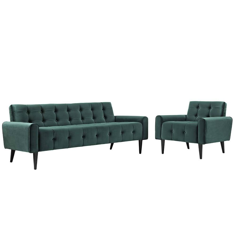 Delve Set of 2 Living Room Set Velvet Green - Modway