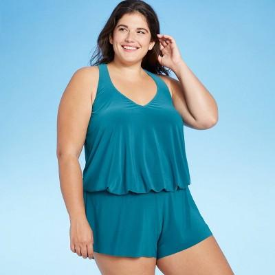 Women's V-Neck Romper - Aqua Green® Deep Sea Blue