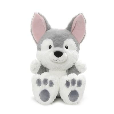"G by GUND Silly Pawz Husky Dog Plush Stuffed Animal Gray and White 12"""