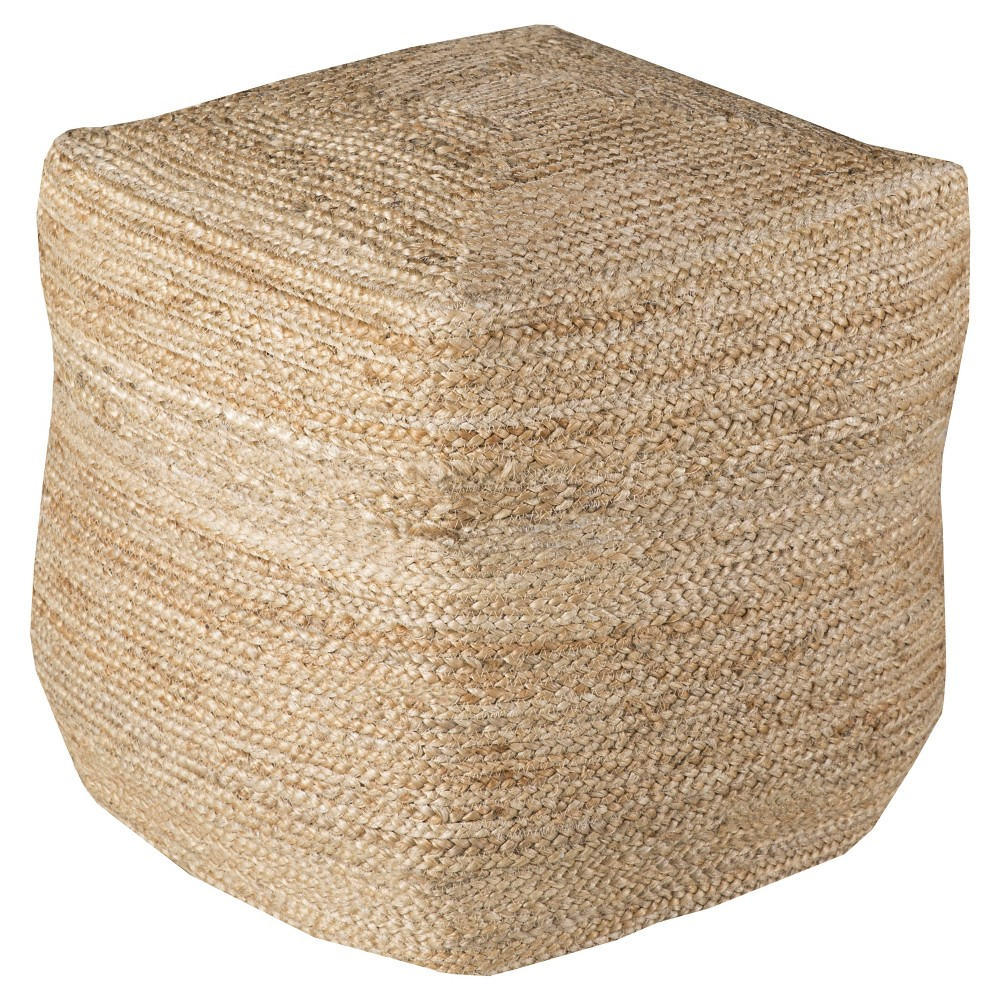 Beige Knotted Cube Pouf 18x18