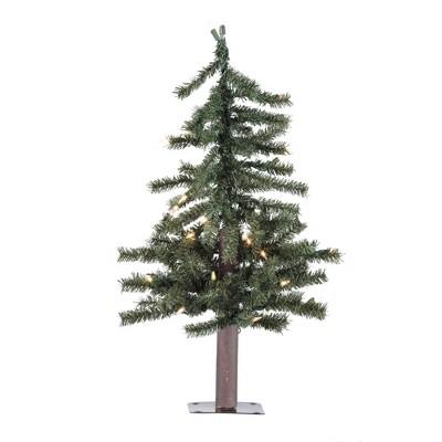 "Vickerman 2' x 16.5"" Natural Alpine Artificial Christmas Tree, Warm White LED Lights."