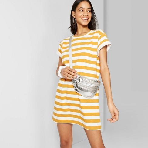 Women's Striped Short Sleeve Round Neck T-Shirt Dress - Wild Fable™ Orange/White - image 1 of 10