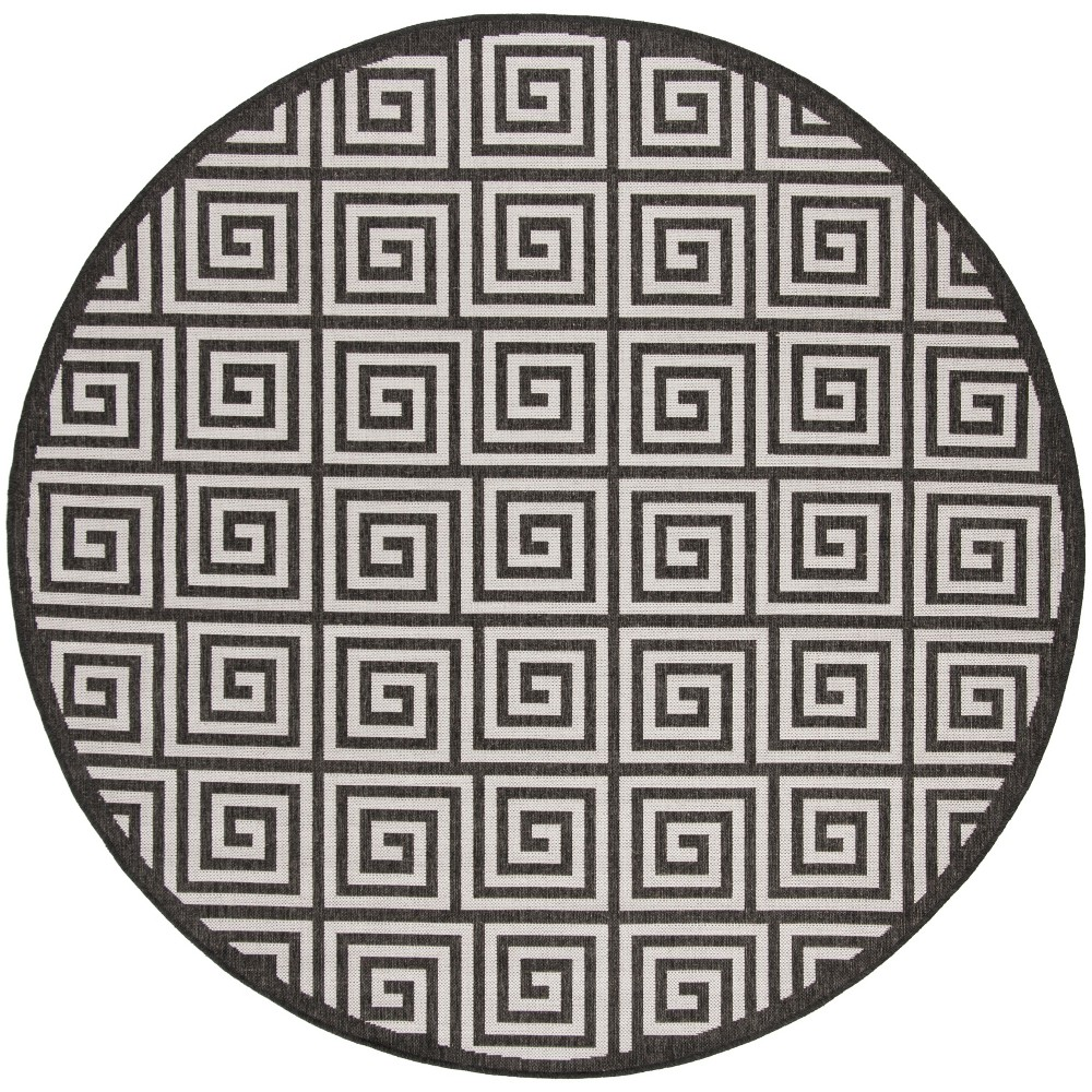 67 Round Geometric Loomed Area Rug Light Gray/Charcoal - Safavieh Buy