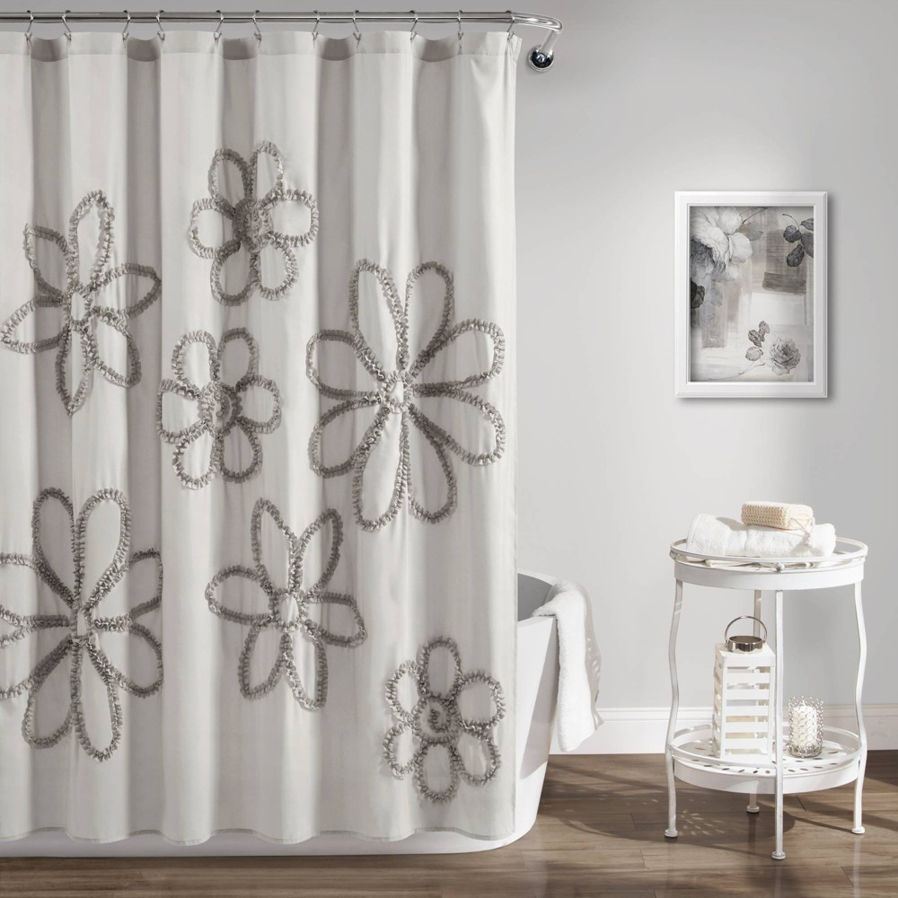 "Image of ""72""""X72"""" Single Ruffle Flower Shower Curtain Gray - Lush Décor"""