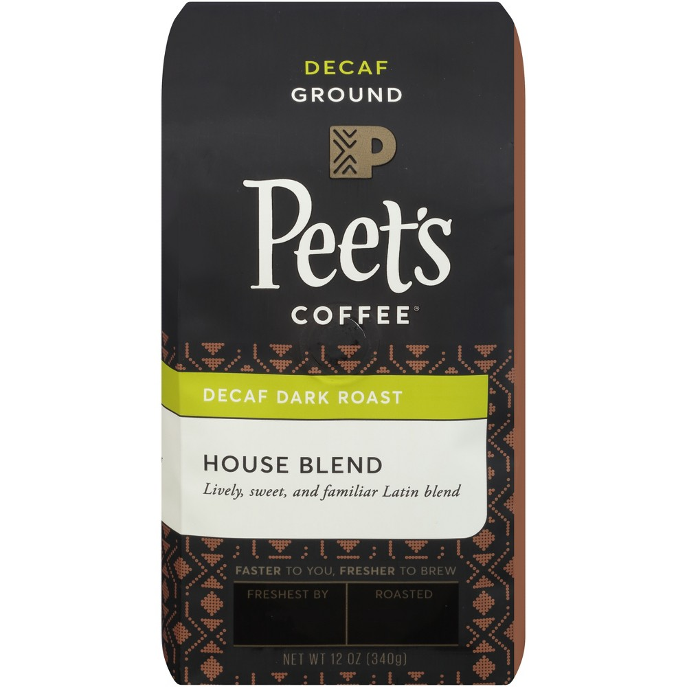 Peet's House Blend Dark Roast Ground Coffee - Decaf - 12oz Enjoy a cup of joe at any time of day with Peet's House Blend Deep Roast Ground Coffee. Pre-ground coffee boasts an added convenience that whole bean coffee doesn't — it comes ready to brew. Simply toss the grounds in your drip coffee maker, espresso machine or whatever your preferred brewing method is, and enjoy this slightly spicy coffee.