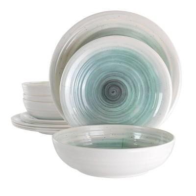 12pc Melamine Potters Wheel Dinnerware Set Light Blue - Elama