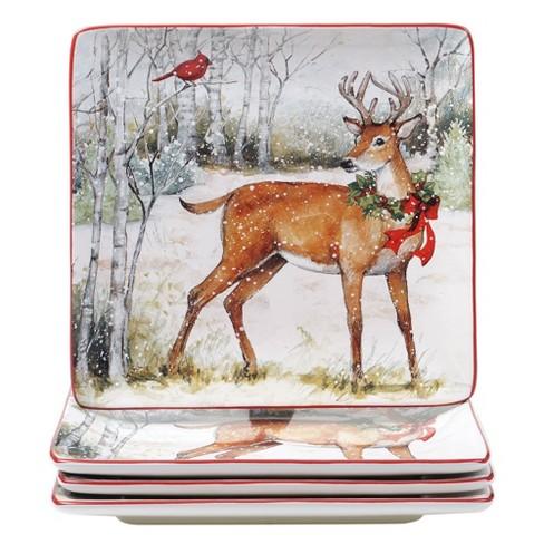 "10.3"" 4pk Earthenware Winter Forest Dinner Plates - Certified International - image 1 of 3"