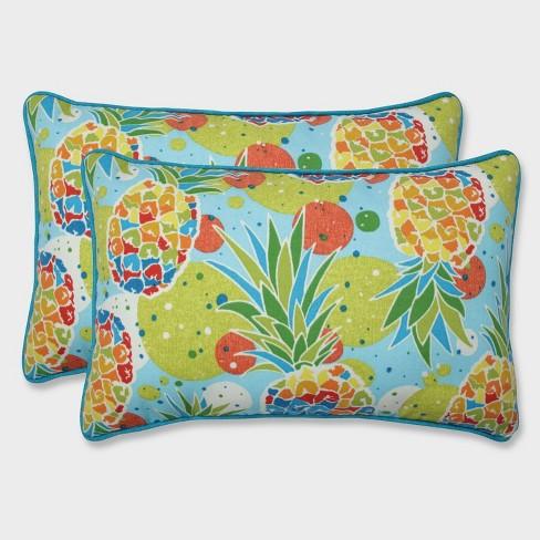 2pk Hala Kahiki Tropic Rectangular Throw Pillows Blue - Pillow Perfect - image 1 of 1