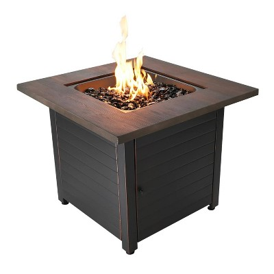 """Spencer 30"""" Gas Outdoor Fire Pit with Printed Resin Mantel - Endless Summer"""