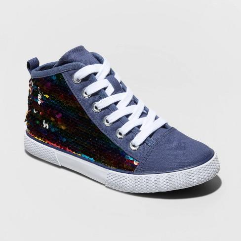 Girls' Zandra Flip Sequin Mid Top Sneakers - Cat & Jack™ Navy - image 1 of 3