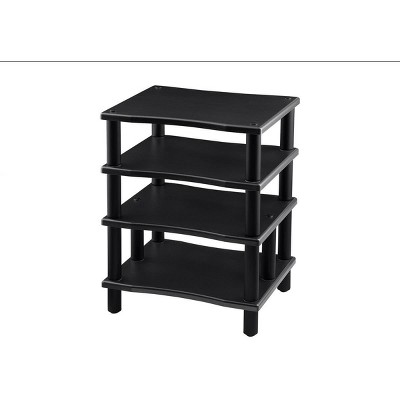 Monolith 4 Tier Audio Stand XL - Black, Open Air Design, Each Shelf Supports Up to 75 lbs., Perfect Way to Organize AV Components