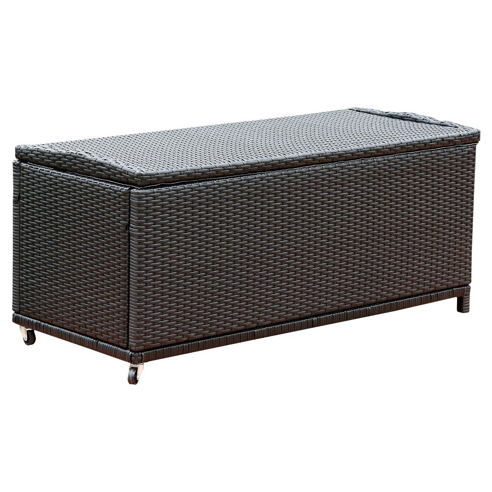 Carlisle Outdoor Black Wicker Storage Ottoman, Large