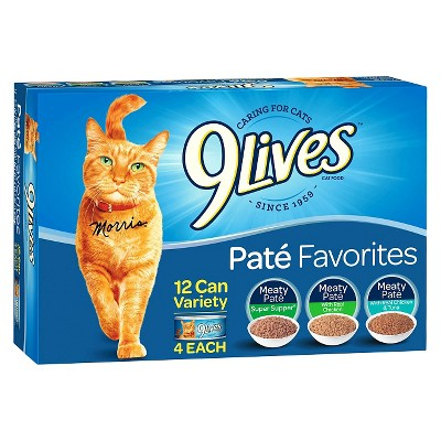 9Lives Paté Favorites Chicken & Tuna Wet Cat Food - 5.5oz/12ct Variety Pack
