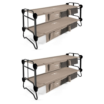 Disc-O-Bed 30901BO Large Cam-O-Bunk 2 Person Bench Bunked Double Camping Bunk Bed Cot with 2 Side Organizers, Tan (2 Pack)