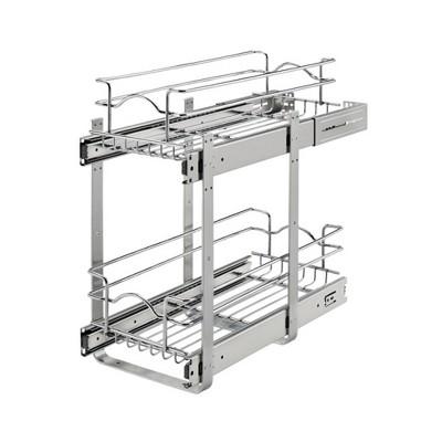 Rev-A-Shelf 5WB2 2-Tier Wire Basket Pull Out Shelf Storage for Kitchen Base Cabinet Organization, Chrome