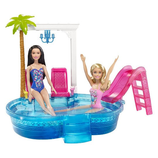 Barbie Glam Pool with Water Slide & Pool Accessories image number null