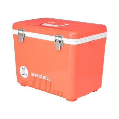 Engel 19 Quart 32 Can Leak Proof Odor Resistant Insulated Cooler Drybox with Integrated Shoulder Strap, Coral