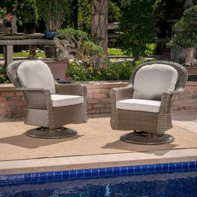 Liam 2pk Wicker Swivel Club Chairs - Brown/Gray - Christopher Knight Home