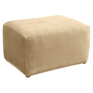 Cream Stretch Pique Slipcover Ottoman - Sure Fit, Ivory