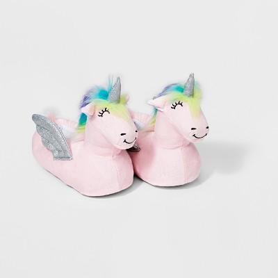 Girls' Unicorn Bootie Slippers - Cat & Jack™ Pink S (13-1)