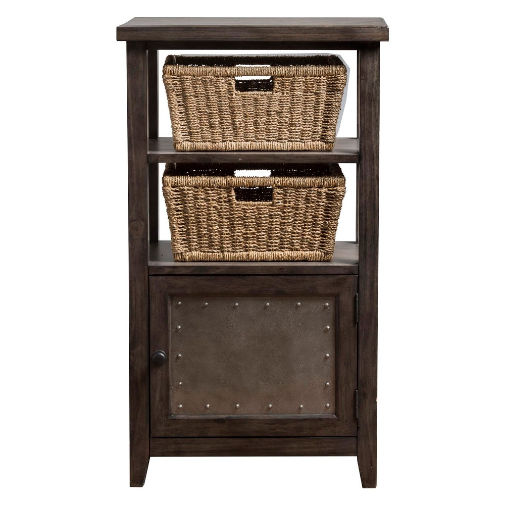 Image of Tuscan Retreat Basket Stand with Two Baskets Smoke (Grey) - Hillsdale Furniture